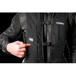 Nuevo Chaleco Airbag  electrónico e-Turtle Negro Helite. Detalle encendido